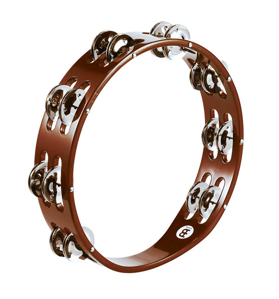 Meinl TA2AB Wood Double Row Tambourine with Steel Jingles, African Brown