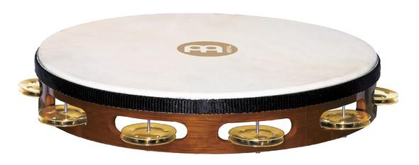 Meinl TAH1B-AB Wood Single Row Tambourine with Goat Skin Head and Brass Jingles