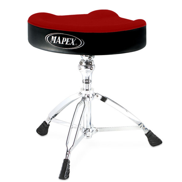 Mapex T765A Red Cloth Top Drum Throne, Threaded Base