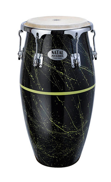 Natal NCSFC-BY Classic Series Splatter Finish 11 & 12 inch Congas Black with Yellow