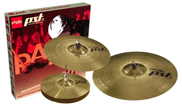 Paiste PST3 Cymbal Set, 14 Inch Hi-Hat,16 Inch Crash, 20 Inch Ride