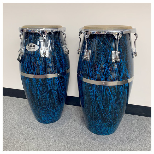 Natal NCSFC-BB Classic Series Splatter Finish 11&12 inch Congas Black with Blue