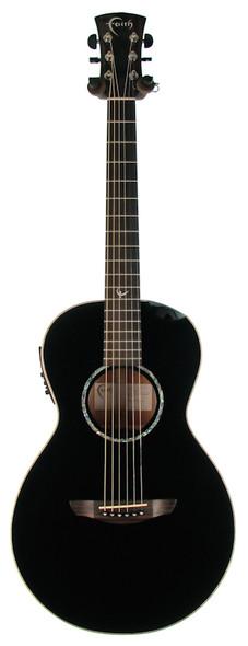 Faith FECM-BNC Eclipse Series Mercury Parlour Electro Acoustic Guitar with Scoop, Black