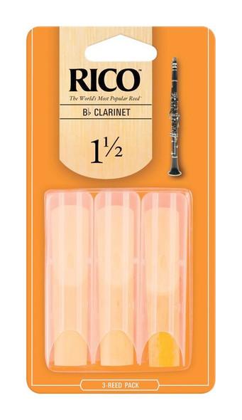Rico Bb Clarinet Reeds, Strength 1.5, 3-pack