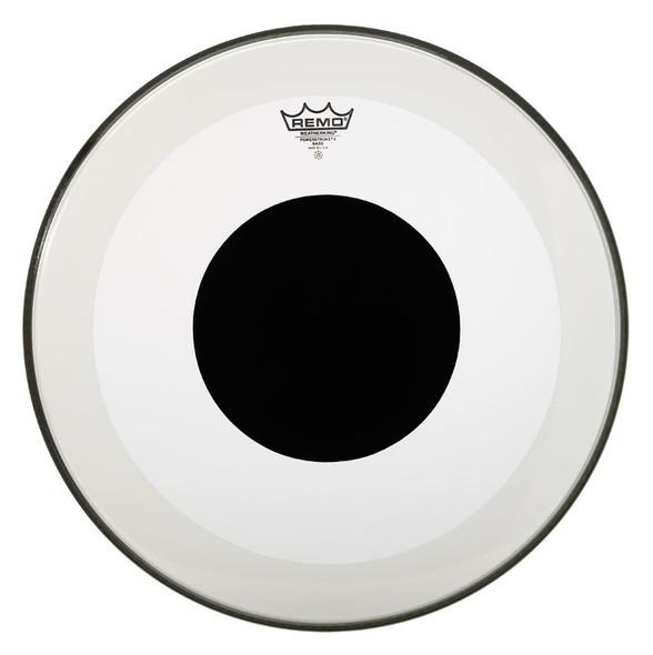 Remo Powerstroke 3 Clear 20-inch Bass Drum Head, Black Dot