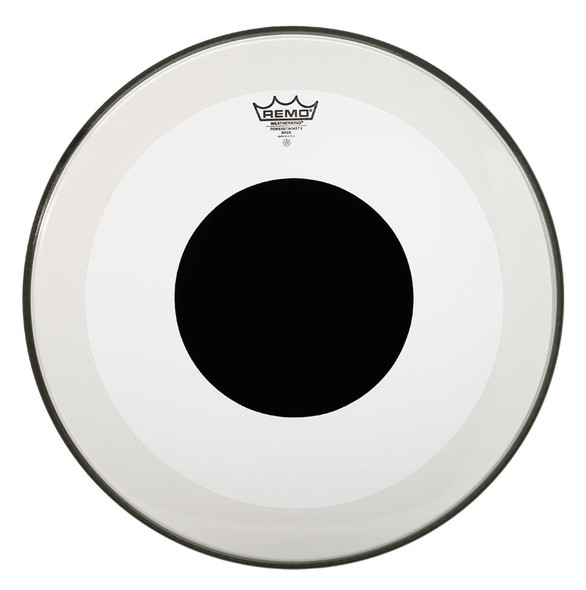Remo Powerstroke 3 Clear 22-inch Bass Drum Head, Black Dot