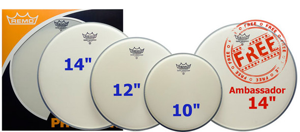 Remo 10/12/14 Coated Ambassador Head Pack with Free 14 Inch Coated Ambassador