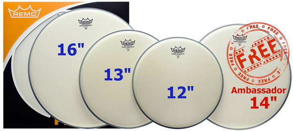 Remo 12/13/16 Coated Ambassador Head Pack with Free 14 Inch Coated Ambassador