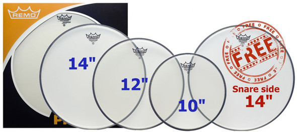 Remo 10/12/14 Clear Ambassador Head Pack with Free 14 Inch Snare Side