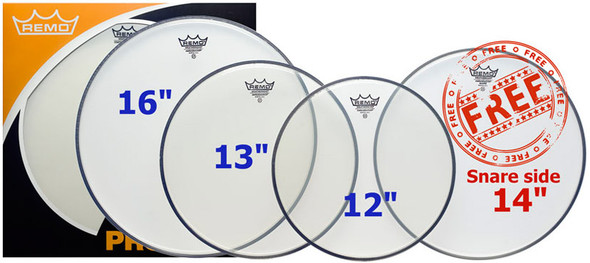 Remo 12/13/16 Clear Ambassador Head Pack with Free 14 Hazy Snare Side Head
