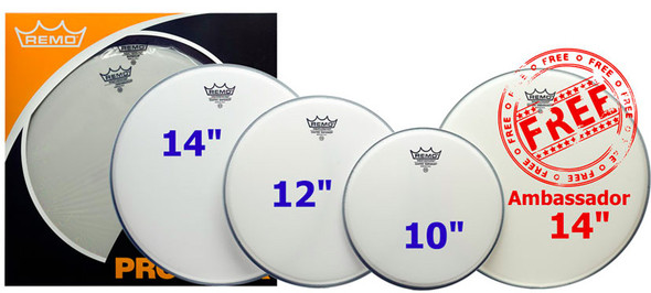 Remo PP-1020-BE 10/12/14 Coated Emperor Head Pack with Free 14 Inch Coated Ambassador
