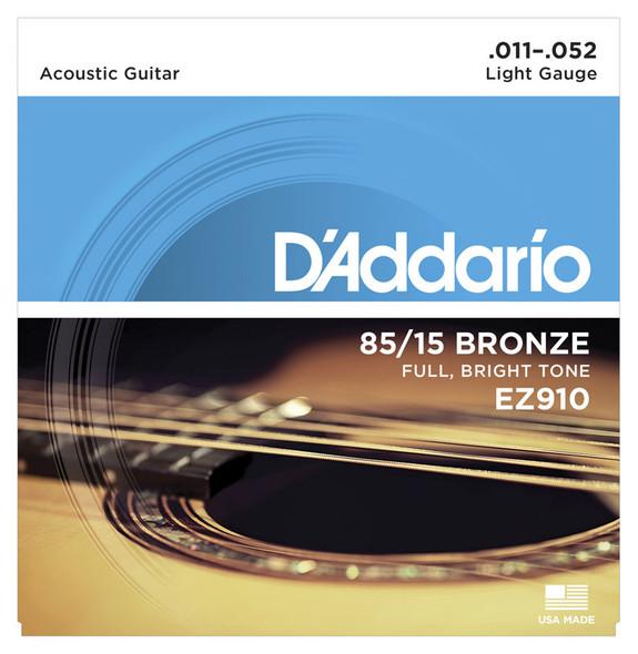 D'Addario EZ910 85/15 Bronze Acoustic Guitar Strings, Light 11-52