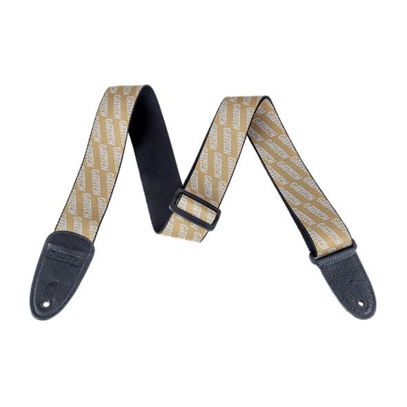 Gretsch Logo Guitar Strap, Gold with White logos