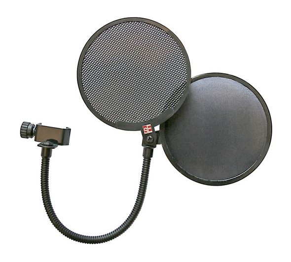 SE Electronics Dual Pro Pop shield with metal/fabric shields and gooseneck