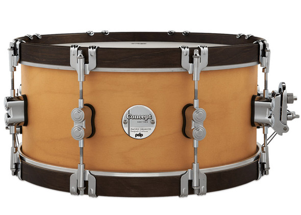 PDP Concept Classic 14 x 6.5 Inch Snare Drum, Natural Finish with Walnut Hoops