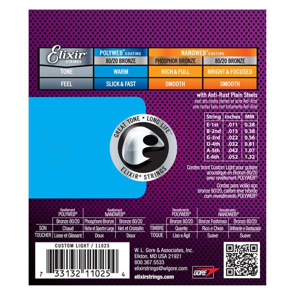 Elixir Polyweb 80/20 Bronze Acoustic Guitar Strings Custom/Light 11-52