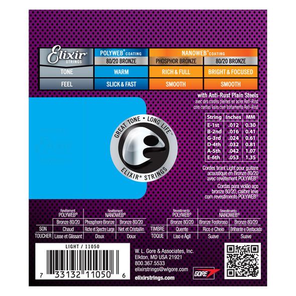 Elixir Polyweb 80/20 Bronze Acoustic Guitar Strings Light 12-53