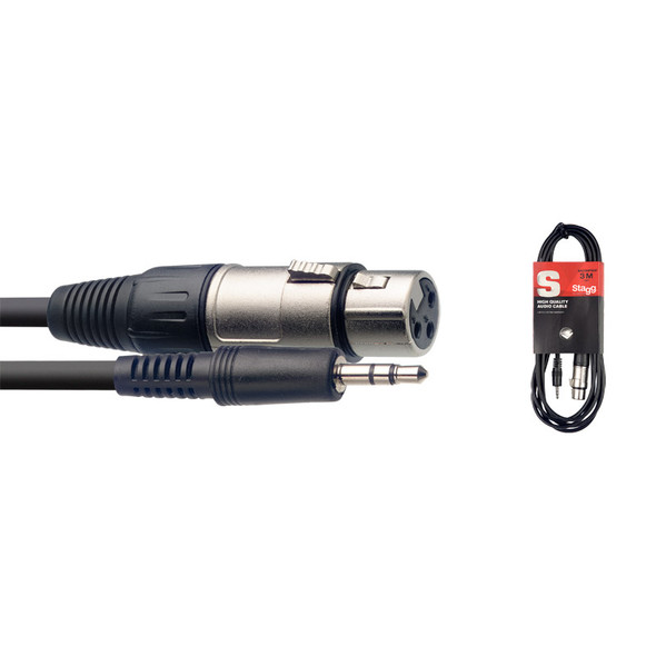 Stagg SAC1MPSXF 1m/3ft Stereo Male Minijack to Female XLR Cable