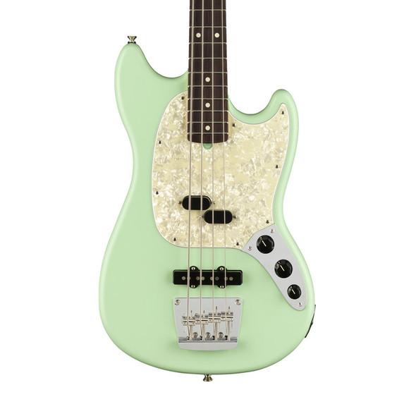 Fender American Performer Mustang Bass Guitar, Satin Surf Green, Rosewood