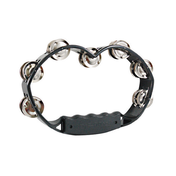 Tycoon TBH-BBS Black Plastic Hand Held Tambourine With Bright Steel Jingles