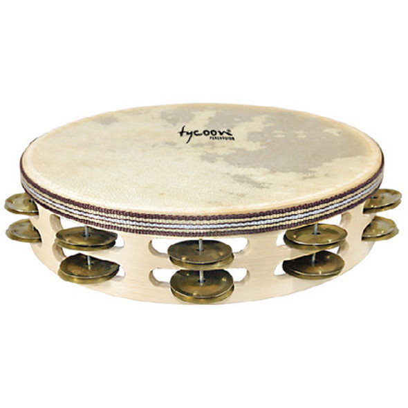 Tycoon Double Row Headed Wooden Tambourine With Brass Jingles