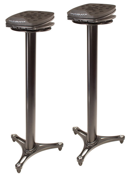 Ultimate Support MS-100B 36 inch Monitor Stands w/ Adjustable Pads (Pair, Black)