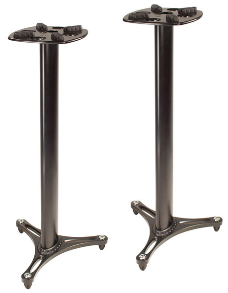 Ultimate Support MS-90/45B 45 Inch Monitor Stands with Decoupling Pads (Pair, Black)