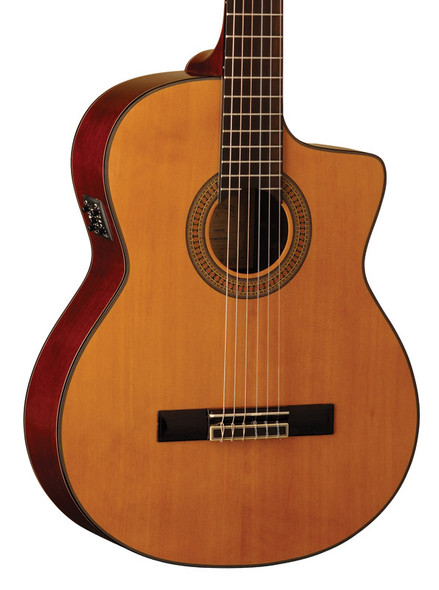 Washburn C64SCE Electro Acoustic Classical Nylon String Guitar, Natural