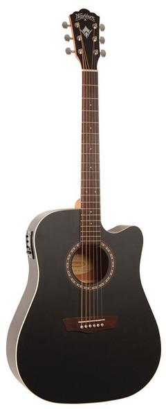 Washburn WD7SCE BM Electro Acoustic Guitar, Matte Black