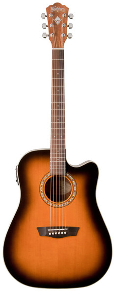 Washburn WD7SCE ATBM Electro Acoustic Guitar, Antique Tobacco Burst
