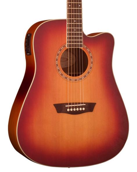 Washburn WD7SCE ACSM Electro Acoustic Guitar, Antique Cherry Sunburst