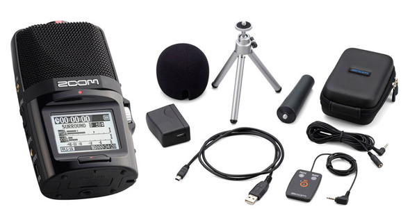 Zoom H2n Portable Stereo Mid-Side Recorder and Accessories Bundle