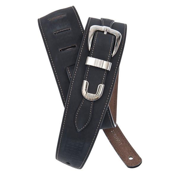 Planet Waves 25LBB00 Belt Buckle Leather Guitar Strap, Black