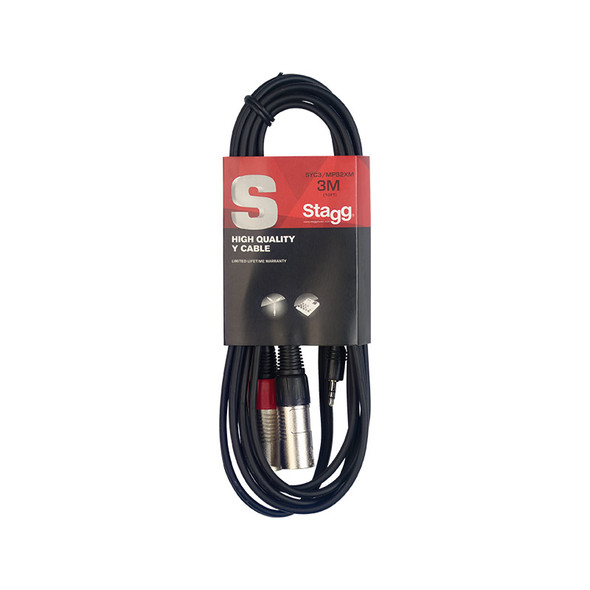 Stagg SYC3/MPS2XM 3m/10ft Stereo Minijack to Twin Male XLR Cable