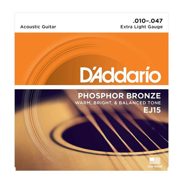D'Addario EJ15-3D Phosphor Bronze Acoustic Strings, Extra Light 10-47 (3 Pack)