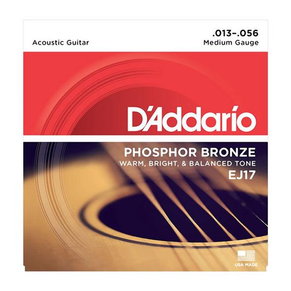 D'Addario EJ17-3D Phosphor Bronze Acoustic Guitar Strings, Medium 13-56 (3 Pack)