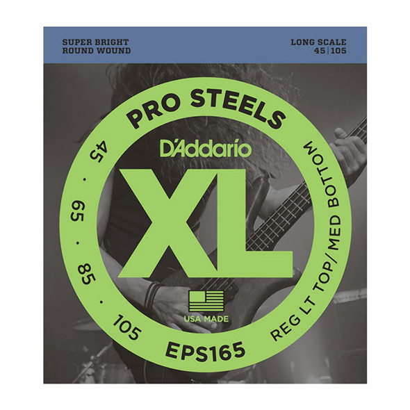 D'Addario EPS165 ProSteels Electric Bass Strings Long Scale, Custom Light 45-105