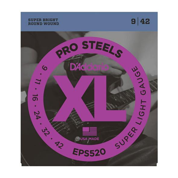 D'Addario EPS520 ProSteels Electric Guitar Strings, Super Light 9-42