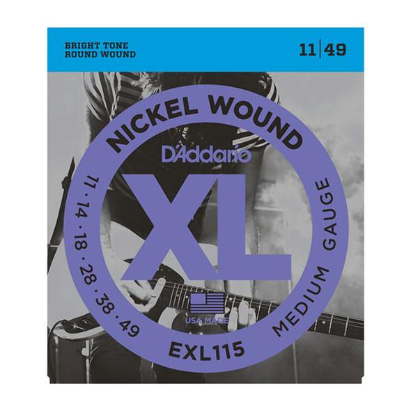 D'Addario EXL115 Nickel Wound Electric Strings, Medium/Blues-Jazz Rock 11-49
