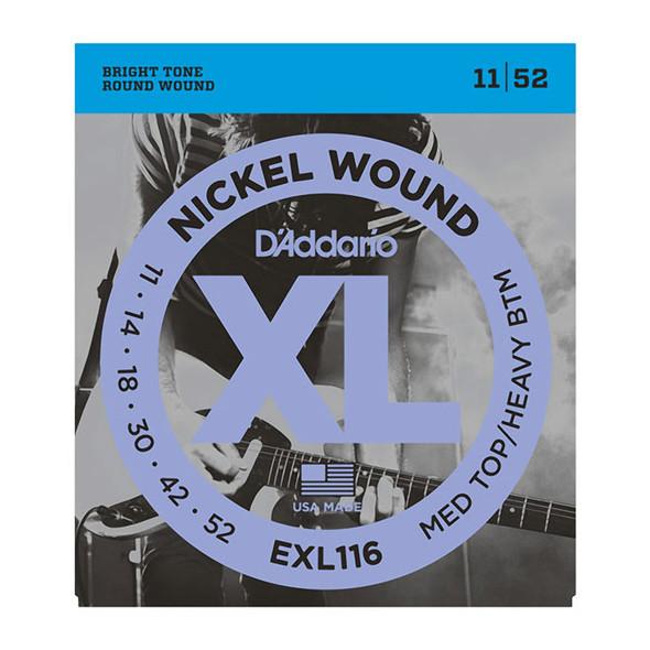 D'Addario EXL116 Nickel Wound Electric Guitar Strings Med Top/Heavy Bottom 11-52