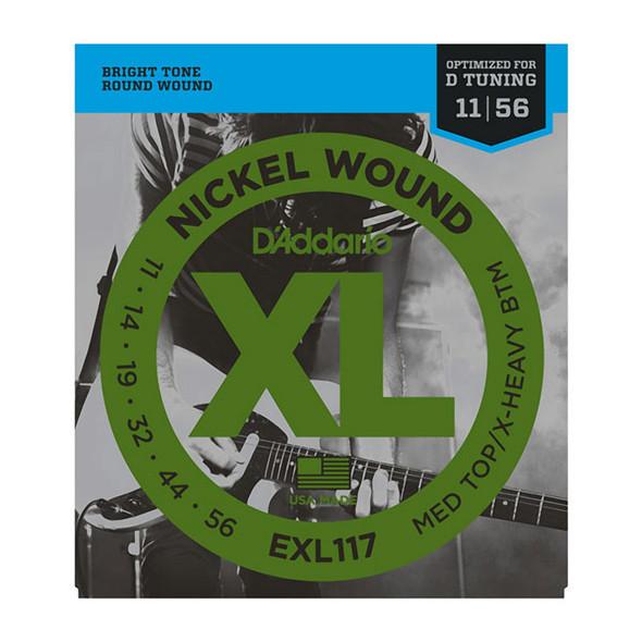 D'Addario EXL117 Nickel Wound Electric Strings, Med Top/X-Heavy Bottom 11-56