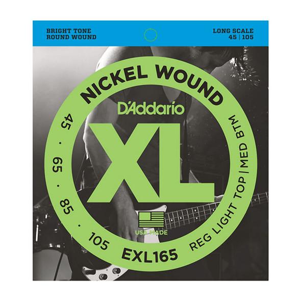 D'Addario EXL165 Nickel Wound Bass Strings, Custom Light 45-105, Long Scale