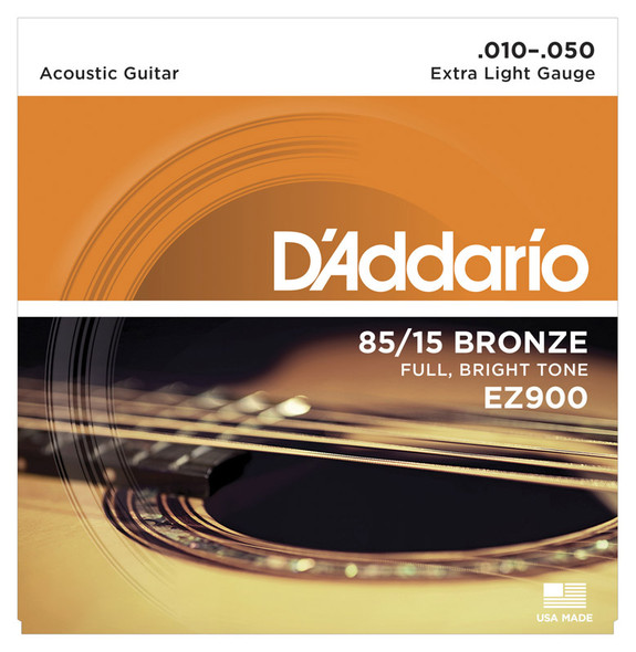 D'Addario EZ900 85/15 Bronze Acoustic Guitar Strings, Extra Light 10-50