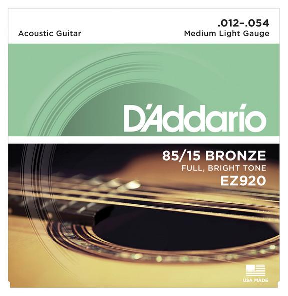 D'Addario EZ920 85/15 Bronze Acoustic Guitar Strings, Medium Light 12-54