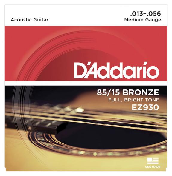 D'Addario EZ930 85/15 Bronze Acoustic Guitar Strings, Medium 13-56