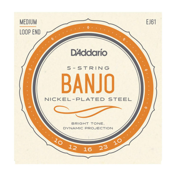 D'Addario EJ61 5-String Banjo Nickel Strings, Medium 10-23
