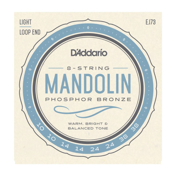 D'Addario EJ73 Phosphor Bronze Mandolin Strings, Light 10-38