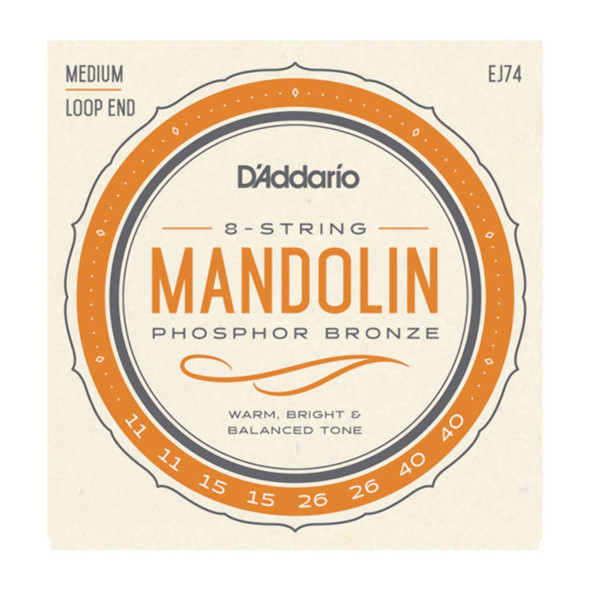 D'Addario EJ74 Phosphor Bronze Mandolin Strings, Medium 11-40