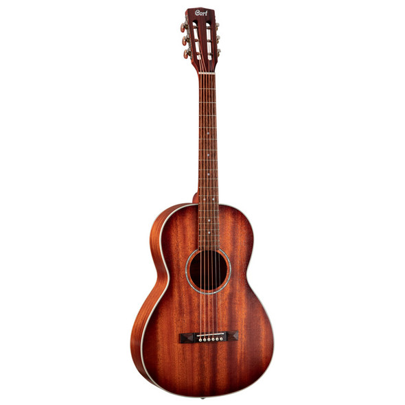 Cort AP550M Parlor Acoustic Guitar with Bag, Mahogany Open Pore
