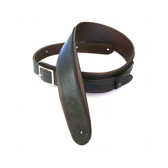 DSL Leather 2.5 Inch Rolled Edge Leather Guitar Strap with Buckle, Black/Brown